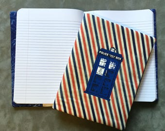Doctor Who Police Box TARDIS On British Stripe Quilted Refillable Journal Notebook
