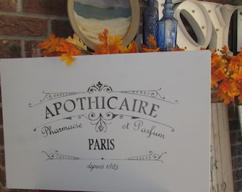 """Primitive French Metal """" Apothecary  """"  Advertising Sign"""