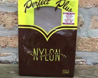 Perfect Plus stockings NIP 100% nylon 1960's midnight mist color seamless micro mesh new in package unused size 9-1/2 medium original box