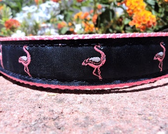"""Sale Dog Collar 1"""" wide Quick Release buckle adjustable Pink Flamingo - martingale style is cost upgrade"""