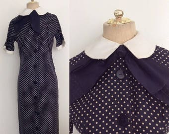 30% OFF 1950's Silk Navy Blue Polka Dot Wiggle Dress w/ Double Collar & Bow