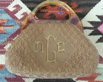 1950's Beige Woven Monogrammed Vintage Handbag Purse by Maeberry Vintage
