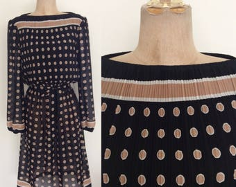 1980's Polka Dot Polyester Dress Black & Brown Vintage Dress Size Small Medium by Maeberry Vintage