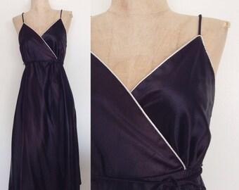 1970's Black Wrap Dress w/ White Piping Trim Vintage Disco Party Dress Size Small Medium by Maeberry Vintage