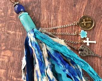Sari Silk Tassle Detachable Shades of Blue Colorful Boho OOAK Lapis Gemstone Bullet Casing Metal Charms Mix and Match Keychain Backpack Pen