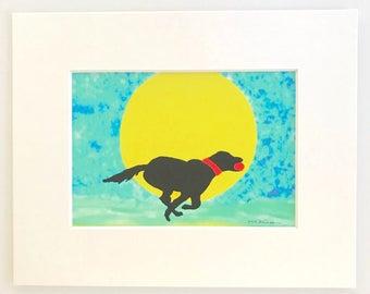 Labrador retriever art, Black Lab watercolor print, dog on the beach, pet memorial, 5x7 in 8x10 white matte, beach decor, gift for pet lover