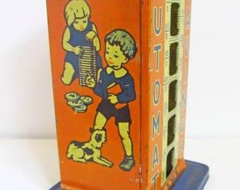Rare tin litho Automat Savings Child's Bank 1930s
