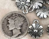 Daisy Flower Dangle Charm Pendant - Antique Silver Pewter - 12mm x 9mm (2) Gypsy Bohemian Earthy Rustic Hippie  - Central Coast Charms