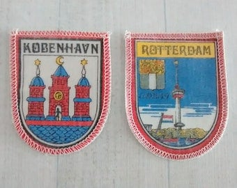 As is Faded Vintage Printed Rotterdam and Copenhagen Patches, Euromast and Coat of Arms Appliques, Netherlands Dnemark Travel Souvenir