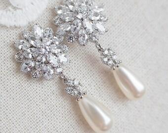 Bridal Earrings, Cubic Zirconia Flower Stud and Teardrop Pearl Earrings, Bridal CZ Pearl Floral Earrings,Cubic Zirconia Bridal Pearl Jewelry
