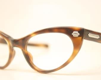 Unused Tortoise cat eye glasses vintage 1950s eyewear cateye frames