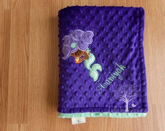 Personalized Minky Baby Blanket, African American Mermaid Appliqued Blanket, Baby Girl Minky Blanket, Personalized Baby Gift