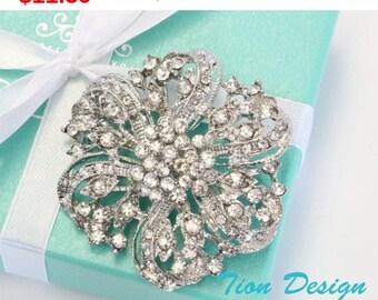 Summer Sale Rhinestone Brooch, Wedding Brooch,  Free Shipping, Bridal Wrap, Faux Fur Wrap