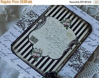 4 French Inspired Hang Tags Cottage Chic Gift Tag White Black Ribbons Flowers