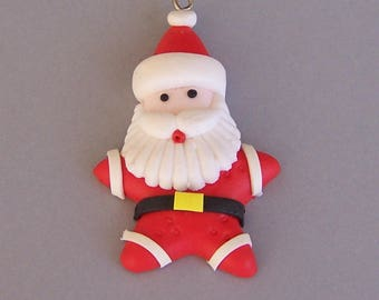 "Santa Claus charm, polymer clay pendant, Christmas jewelry supply, winter theme, 2 1/4"" tall x 1 3/8"" wide"