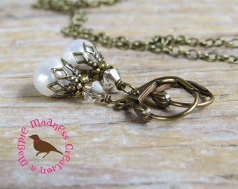 Petite White AA Pearl Antiqued Gold Earrings, White Coin Pearl Leverback Earrings, Brass Filigree, by MagpieMadness for Etsy