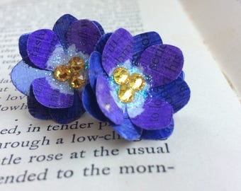 July Birth Flower Earrings - Purple Larkspur - Book Page Paper Flowers - gifts for book lovers - eco chic - july birthday - book page flower