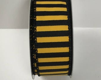 ON SALE 1.5 Inch Black Yellow Striped Ribbon 223995-1004, Wired Ribbon, College Wreath Ribbon