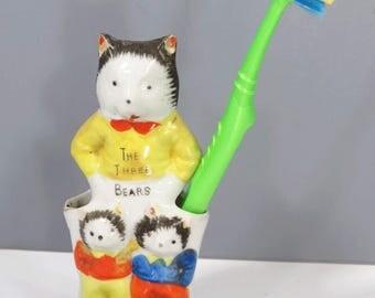 The THREE Bears Toothbrush Holder, Vintage Child Bathroom Decor, Ceramic, Vase, Pencil Holder