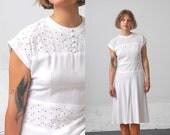 1940s Eyelet Dress / Cotton 40s Dress / 1940s Linen Dress