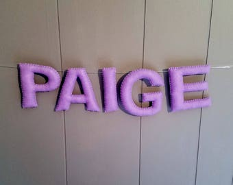 Personalized Felt Nursery Name Banner / Hanging Wall Letters / Children's Room Garland Bunting / Custom Baby Gift Decor Sign  - One Color