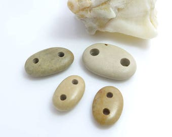 Beach Stones Connectors, Organic Beads, Jewelry supplies, Double Drilled Pebbles for Bracelets DIY Big Hole