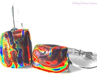 Multicolor dichroic glass sleepers on silver, luminous, handmade, single piece