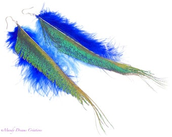Natural peacock feather earrings, light blue and bright blue marabout feathers