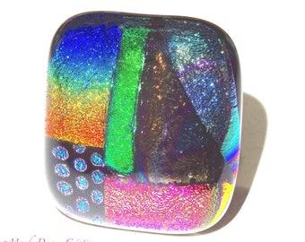 Dichroic glass ring multicolor bright, luminous, handmade, single piece