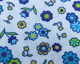 Flower Power Cotton Stretch Fabric Tee Shirt Type Fabric with a Bold and Bright Floral Print White and Bright Blue and Green 1 1/2 Yards