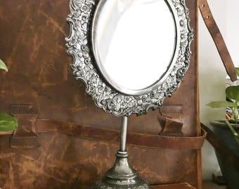 Antique Victorian Era Silver Plated Mirror