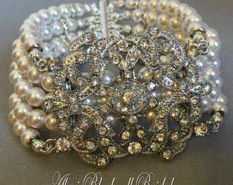 Pearl Bridal Bracelet in White or Ivory Swarovski Pearls with Art Deco rhinestone focal Wide Great Gatsby style choice of color wedding