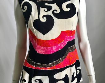 The Very Boldest Pink Orange Black White and Brown Iconic 70's Mod Print 2 Piece Sleeveless Tunic and Slit Maxi Skirt Ensemble