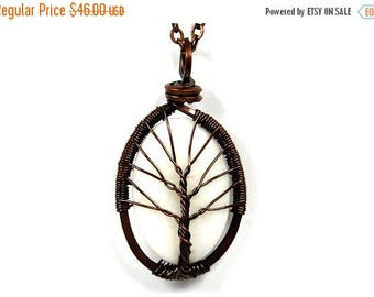 20% OFF Vacation SALE The White Jasper Stone Tree of Life Necklace in Antique Copper.