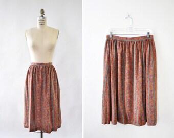 Vintage Skirt M • Floral Skirt • Print Skirt with Pockets • Striped Skirt • Flowy Skirt • Silk Skirt • Knee Length Skirt | SK812