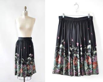 70s Skirt M • Black Floral Skirt • Vintage Floral Skirt • Gathered Skirt • Vintage Skirt • Black Midi Skirt • Flared Skirt  | SK859
