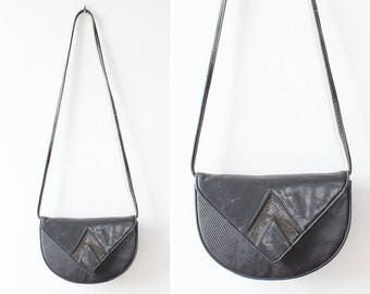 80s Snakeskin Purse • Vintage Crossbody Bag • Snakeskin Bag • Leather Crossbody Purse • 80s Punk • Black Leather Crossbody Bag  | B904