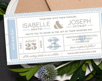 Ticket Wedding Invitation / 'Typography Ticket' Admission Ticket Wedding Invite / Pale French Blue Grey Silver / Custom Colours / ONE SAMPLE