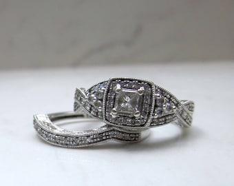 Estate 14k Solid White Gold  Diamond Halo Engagement Ring with Matching Wedding Band, Size 7 // Wedding Set //