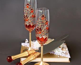 Red and Gold Wedding Set, Champagne Glasses, Cake Server Set