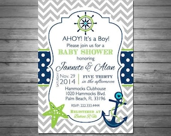 ON SALE Nautical Baby Shower Invitations Printable File, Chevron, Nautical Birthday, Sailboat, Anchor, Navy and Green