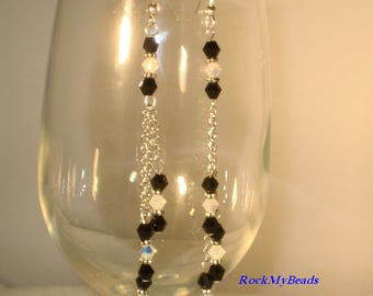 Swarovski 3-Tier Black and White Chain Earrings,Earrings,Jewelry,Chain Earrings,Swarovski Earrings,Crystal Earrings,chandelier Earrings