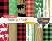 Lumberjack Digital Paper, Buffalo Plaid Digital Paper, Red and Black Flannel Plaid Pattern, Seamless Forest Paper, Commercial Use