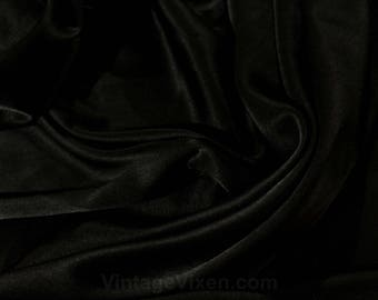 Black Silk Satin Fabric - 4 Continuous Yards - Beautiful Lustrous Charmeuse Yardage - Mint Condition - Exquisite Formal Fabric - 50157
