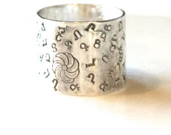 "Silver Band Ring-Armenian Ring-Armenian ""Alphabet Soup"" Ring-Silver Cigar Band-Your choice of alphabet"
