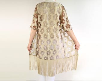 VINTAGE 1970s Fringe Blouse Gold Lace Top