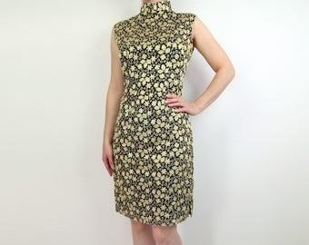 VINTAGE Cheongsam Dress Gold Embroidered Black