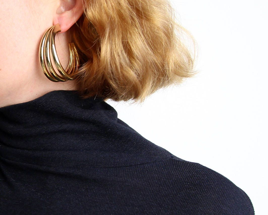 vintage gold hoop earrings from Etsystatic