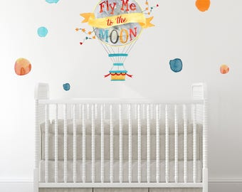 NEW!! Baby Nursery Wall Decals, Fly me to the Moon, Polka dots, Vinyl decals baby, Hot Air Balloon, Modern Nursery Wall Decal, Baby room art