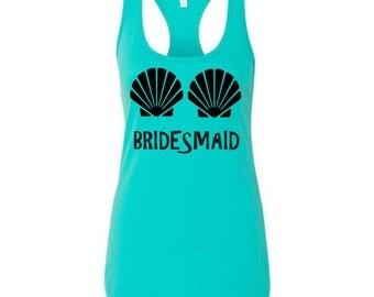 Bridesmaid Seashells tank , Mermaid Bachelorette Party Tops , Beach Party  ,  Bridal Party Shirts , Wedding Shirts - BRIGHT COLORS and SIZES